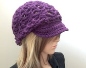 Boho Slouchy Brimster - Wool blend yarn - purple violet bright - Ballcap style - women girl teen READY to SHIP