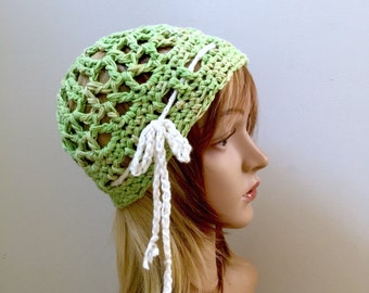Summertime Rasta Net Slouchy Beanie  - Crocheted in 100 Percent Cotton Yarn - Spring Green with White Drawstring