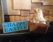 Primitive Easter sign Spring Chick/ Eggs in Basket set