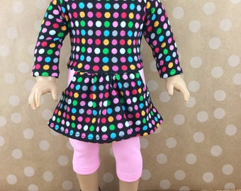 Fits American Girl and 18 Inch Dolls Clothing Handmade Knit Tee Shirt Dress Cotton Knit Leggings Multi Colored Dots Print on Black