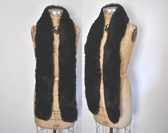 Black Shearling Genuine Fur Collar / sheep boa