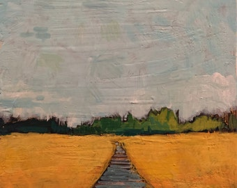 "Untitled Field with Walk- Original Acrylic Oil Encaustic Landscape Painting - 8""x8"""