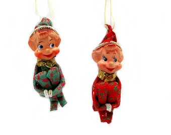 2 Christmas Elf Knee Huggers Ornaments Vintage 1950 Christmas Tree Decor Collectible