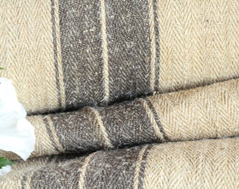 R 400 antique hemp linen GREYISH BROWN upholstery 20.767yards handloomed benchcushion 캔버스 자루 Beachhouse look
