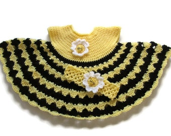 Crochet Bumblebee Baby Dress Headband Set - Crocheted Yellow & Black Baby Dress - Size 3 to 6 Months - Ready To Ship