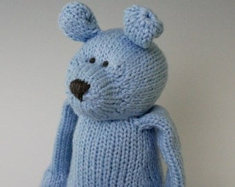 "Bluebell Bear - Organic Cotton Hand Knit Large Eco Friendly Stuffed Animal - Toy Teddy Bear, 16"" tall"