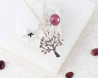 Mini Sterling Silver Tree of Life Charm Necklace with Ruby Birthstone for July