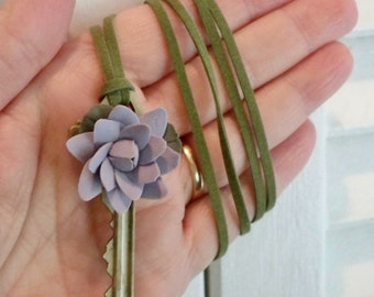 Purple clay flower on vintage key necklace - Green suede cord - One of a Kind bycat