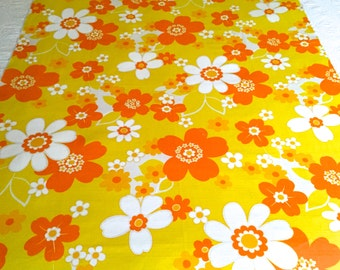 60s Orange and Yellow Daisy Delight Fabric// Happy Hippie Cotton Floral// Cotton Yardage// Apparel// Home Decor// New Old Stock | 2.2 Yards