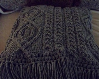 Cable Abby Afghan in Grey Heather, Knit Afghan, Knit Blanket, Throw