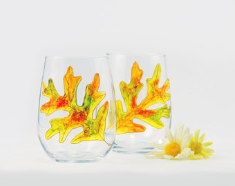 Oak leaf wine glasses - Set of 2 hand painted stemless wine glasses - Autumn Leaves collection