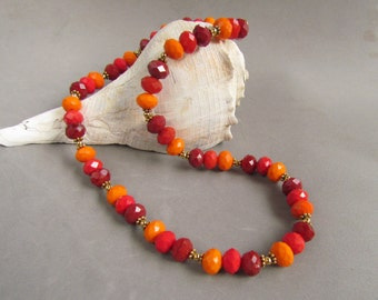 Fall Beaded Necklace, Red, Rust, and Orange, Thanksgiving, Handmade by Harleypaws