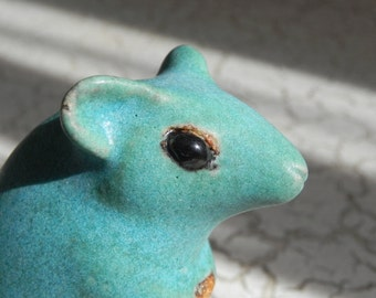 teal turquoise blue stoneware ratty mouse