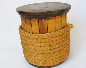 Vintage Rope Spool Wood Wooden Nautical Decor Rustic Farmhouse Beach Cottage 8 by 8 Inches Heavy Slat Stained Natural Wood Box Industrial