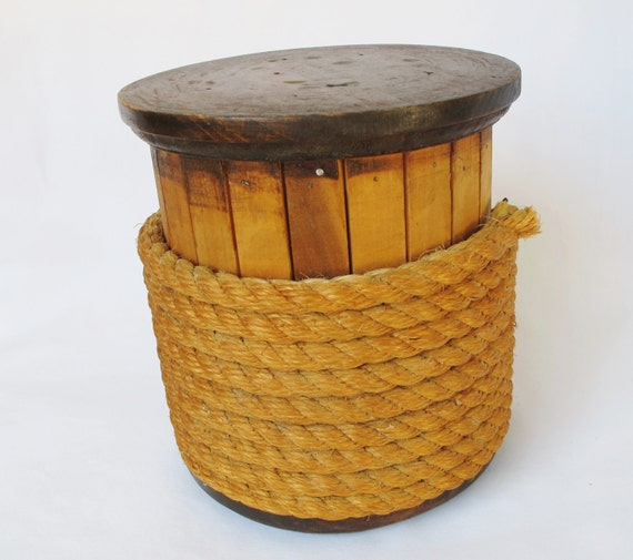 Items similar to vintage rope spool wood wooden nautical for Heavy rope for nautical use