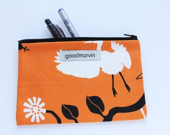 Orange Zipper Pouch, Make Up Bag, Cosmetic Pouch, Coin Purse, Pouch with Birds, Pencil Pouch, Tampon Bag, Gift Under 20
