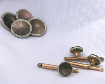 Vintage Krementz Cuff links Abalone 1 pair larger and 3 small with spring mechanism which I believe are shirt studs