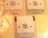 Craftways Embroidery Craft Kit Roses Flowers Guest Towels Kitchen Bath NIP Pink Blue Green NEW