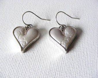 Sterling Silver & Clay Heart Earrings