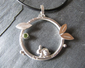 Bunny and Peridot Pendant with Leaves in Sterling Silver