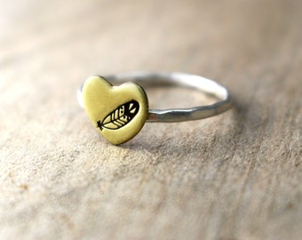 Boho Feather Ring, Heart Ring, Gold Heart Ring, Stack Ring, Sterling Silver Ring, Hammered Band, Hipster Feather Ring, Brass Heart Ring