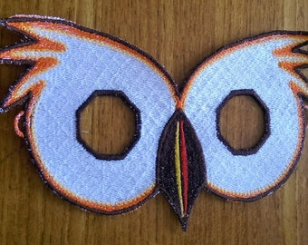 Embroidered OWL Mask.. CHILD SIZE