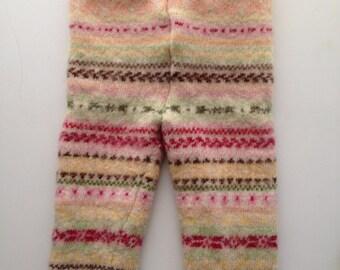 Diaper Cover Wool Longies - Pink Patterned Lambswool Longies