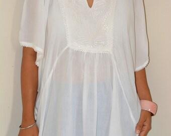 White circle top/Blouse/ Circle Top/Women Dress/ Summer Dress / Hand Made/Boho / Hippie/Beach dress/free size/ Women Summer dress/last one