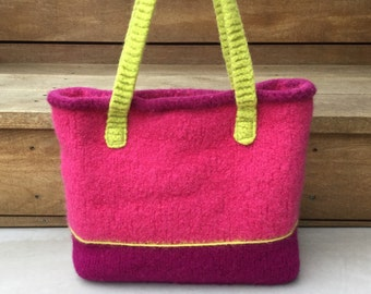 Fuchsia Pink Purse, Tote, Felted, Lime Green, Linda Sweet Designs