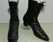 Antique Lace Up Granny Boots Wicked Witch Boots Edwardian Leather Boots Circa 1906