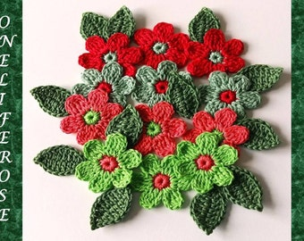 Crochet Flowers 12 pieces with 12 leaves....Fresh & Bright