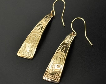14k Yellow Gold Native Earrings Triangular Dangles