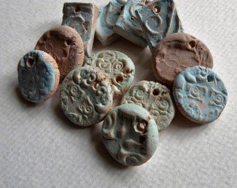 Artisan made ceramic charms - set of 12 - faded colors - earrings - necklaces - bracelets