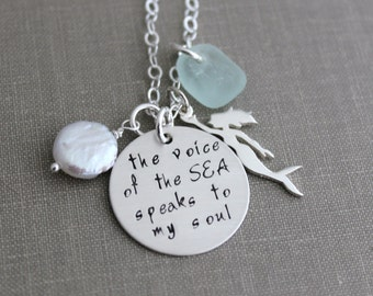 the voice of the sea speaks to my soul, sterling silver necklace with genuine sea glass and freshwater coin pearl, Mermaid charm handstamped
