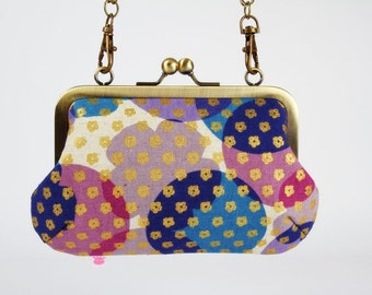 Metal frame handbag with shoulder strap - BIg flowers and dots in blue and purple - Party purse / Japanese fabric