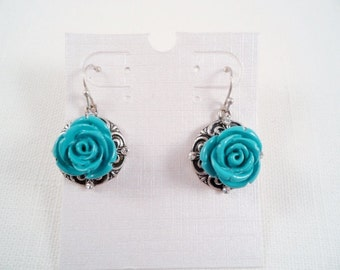 Turquoise Flower & Clear Crystals Silvertone Earrings