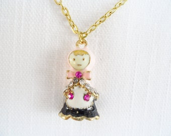 Lovely Enamel Rhinestones Vintage Doll Pendant Necklace