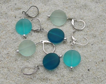Sea Glass Crochet Stitch Markers - Knitting Stitch Markers - Removable Stitch Markers - 15mm teal turquoise green beach glass - set of 6