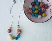 urban decay necklace - vintage lucite - autumn leaves - teal rust olive chartreuse