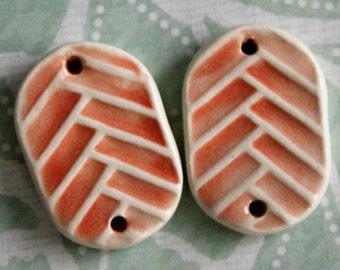 2pc. Salmon Herringbone Jewelry Connectors - 1 to 1 ceramic connectors