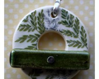 Green Fern - Large Ceramic Circle Focal Toggle Clasp