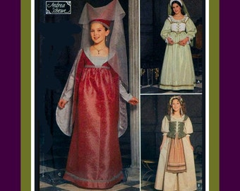 GIRL'S RENIASSANCE PRINCESS-Costume Sewing Pattern-Court Gown-Chemise-Boned-Lace-Up Corset-Petticoat-Headpieces-Veil-Uncut-Size 7-14-Rare