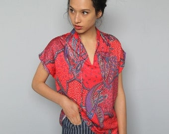 psychedelic paisley party -- vintage 70's paisley print top size M