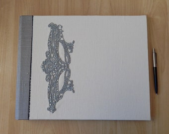 White and Silver Linen and Silk Wedding Album with Silver Lace motif.  Photo Album, Guest Book. Extra Large.