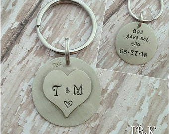 Custom hand stamped, Personalized, JBK, God Gave Me You key chain two sided