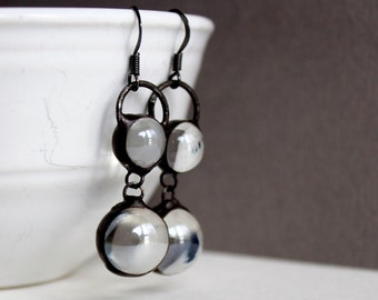 Double Clear Glass Marbles- Stained Glass Jewelry Earrings - Silver or Dark Patina