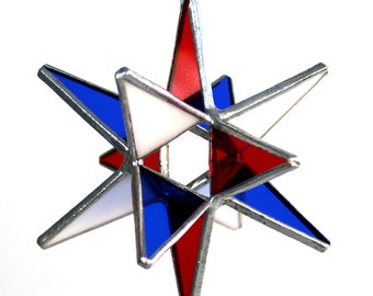 Red- White -and Blue - Patriotic Moravian Star - Handmade Stained Glass - Ornament - Christmas Decor