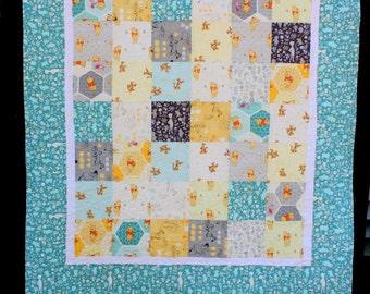 Baby Boy Quilt, Aqua Boy Blanket, Pooh Tigger Baby Quilt, Quilted Baby Blanket, Baby Crib Quilt, Handmade Baby Quilt