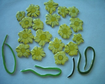 22BL - 22 pc YELLOW FLOWERS w Stems  - Ceramic Mosaic Tiles