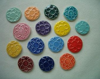 LOTUS COINS - 15 pc FLOWER Stamped Tiles - Ceramic Mosaic Tiles